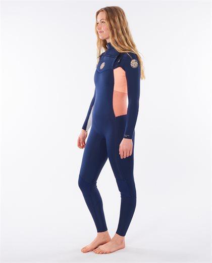 Women Dawn Patrol 3/2 Chest Zip Hooded Wetsuit