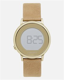Daybreak Digital Gold Leather Watch